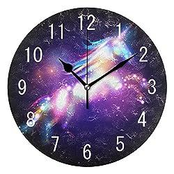ALAZA Home Decor Magic Unicorn Galaxy Nebula Round Acrylic Wall Clock Non Ticking Silent Clock Art for Living Room Kitchen Bedroom