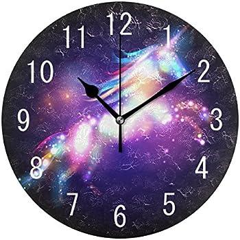 ALAZA Home Decor Magic Unicorn Galaxy Nebula 9 inch Round Acrylic Wall Clock Non Ticking Silent Clock Art for Living Room Kitchen Bedroom