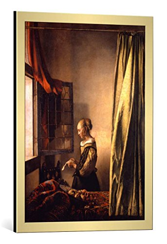 (kunst für alle Framed Art Print: Jan Vermeer Van Delft Girl Reading a Letter at an Open Window - Decorative Fine Art Poster, Picture with Frame, 21.7x29.5 inch / 55x75)