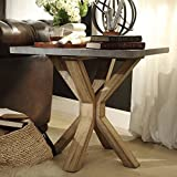 INSPIRE Q Aberdeen Industrial Zinc Top Weathered Oak Trestle Wood Living Room End Table