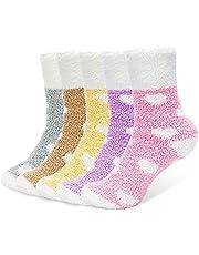 AUGOLA Thermische wintersokken voor dames, 5 paar, gebreide damessokken, winter, dikke warme sokken, vintage stijl, zacht katoen, dikke vrouwelijke bedsok, Kerstmis beste cadeaus voor de winter