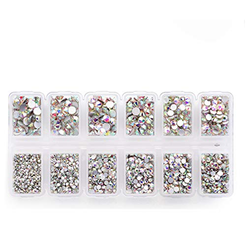 Zealer 1800pcs Crystals AB Nail Art Rhinestones Round Beads Top Grade Flatback Glass Charms Gems Stones for Nails Decoration Crafts Eye Makeup Clothes Shoes 300pcs Each (Mix SS3 6 10 12 16 20) ()