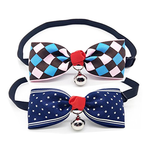 (YUSENPET 2-Pack Dog Cat Bowtie Collar with a Bell, Eyesight Catching Pet Necktie Bowknot for Small Pet, Fit Neck Size from 6