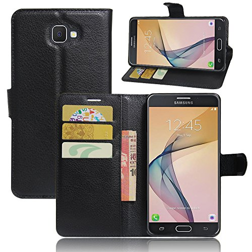 LuckQR Galaxy J7 Prime Wallet Phone Case, Premium Luxury Leather Wallet Case, with Credit Card & Cash Slot, Folding Kickstand, Full Body Protective Phone Cover for Samsung Galaxy J7 Prime - Black