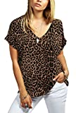 Rimi Hanger Women Printed Turn Up Short Sleeve T Shirt Ladies V Neck Loose Fit Baggy Top Tee Brown Leopard M/L US 8-10