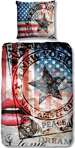 Aminata - coole Teenager-Bettwäsche USA 135x200 cm hochwertige Baumwolle Amerika-Bettwäsche Flagge Vintage