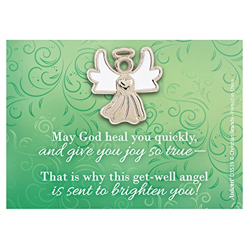 lapel pin Silver Toned White Enamel Guardian Angel with Get Well Card, 1 Inch