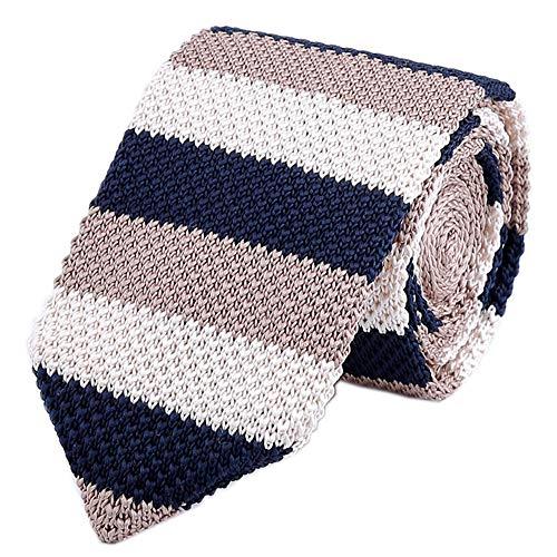 Men's Marine Blue Narrow Tie Woven Silk Novelty Extra Long Necktie for Gentleman (Stripe Summer Hamptons)