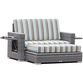 ARUBA   Outdoor Loveseat With Storage Ottoman   Grey HDPE Wicker