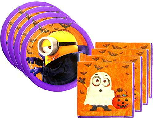 Halloween Minions Despicable Me Party Supply Bundle for 16 Guests - Includes Plates and Napkins