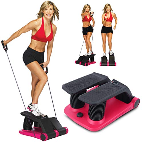 IOOkME-H Mini Adjustable Twist Stepper Air Climber Aerobic Stair Stepper Machine with Rope for Fitness & Exercise with LCD Display