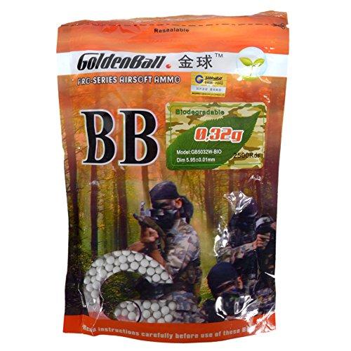 GoldenBall 0. 32g Biodegradable BioTac Seamless Airsoft BBS 3100rd Bag