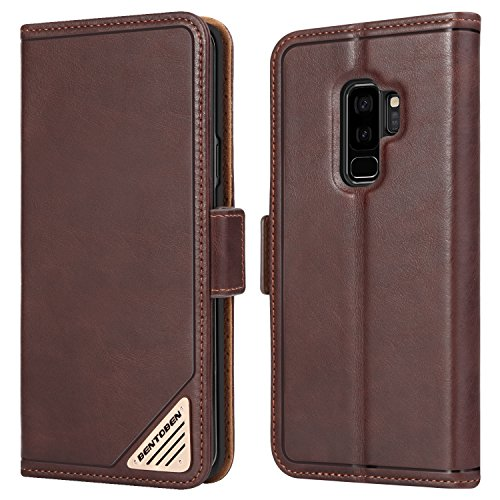 Galaxy S9 Plus Wallet Case, BENTOBEN Slim Fit Genuine Leather Magnetic Folio Flip [Credit Card Slot + Cash Pocket] Purse with Kickstand Feature Samsung Galaxy S9 Plus Protective Phone Cover, Brown