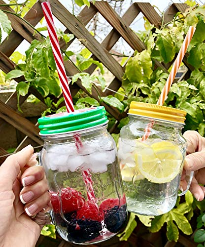 TheBarsentials Mason Jar Mugs with Handles with Stainless Steel Lids and Reusable Straws, Set of 4 x 16oz Clear Glass Pint, Old Fashioned Drinking Cup in Rustic Wooden Tray by TheBarsentials (Image #5)