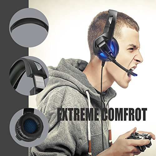 Gaming Headset Foldable For Xbox One PS4 ARKARTECH Headphones with Mic  Noise Cancelling Over Ear LED Light Bass Stereo Sound Volume Control for PC f87798492f
