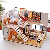 BEAUTY'S CASTLE DIY Loft Apartments Wooden Dollhouses with LED Light and Wooden Frame for Creative Birthday Gift
