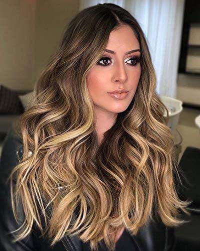 Sunny Extensiones Halo on Human Hair 100% Natural de Extensiones de Hilo Invisible Pelo Naturales Cabello 45cm 80G Balayage Marron con Rubio Caramelo ...