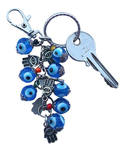 Bunch of Good Luck Evil Eye Beads Keychain Keyrings Decorative Greek -Turkish ... (Hamsa Hand of Fatima) - Hand Painted Greek Key