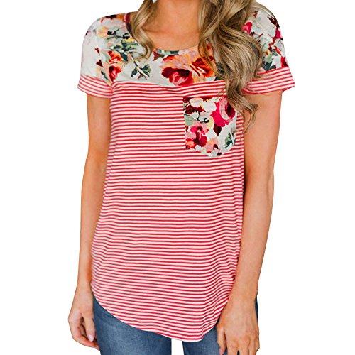 レディース Tシャツ 花柄 縞柄 夏着 欧米風 日常着 ゆったり 快適 女子 洋服 カジュアル おしゃれ Hosam 夏 ファッション (L, レッド)
