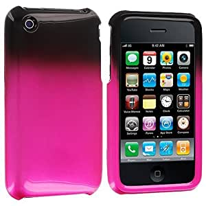 Accessory Planet(TM) Black / Hot Pink Two-Tone Hard Snap-On Crystal Case Cover for Apple iPhone 3G / 3GS
