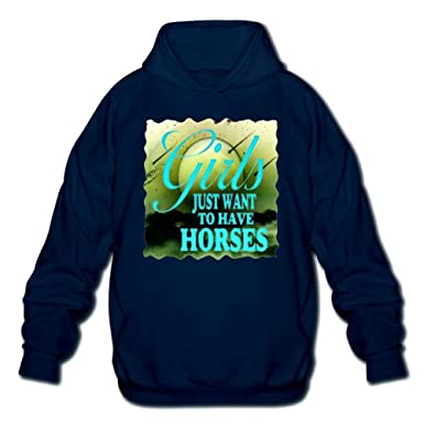 Lixiaoyan Mens Long Sleeve Cotton Hoodie Girls Just Want to Have Horses Sweatshirt