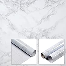 Espier Marble Contact Paper, 15.7''x78.7'' Self-Adhesive Film Granite/Grey Table Cover Waterproof Decorative Marble for Kitchen Countertop Cabinet Furniture