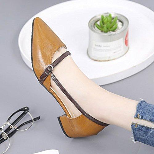 Marrón Baotou colegiala sandalias zapatos coreano áspero hueco tacón señaló medio verano talón sandals casuales OxpwCdqd