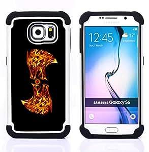"""Samsung Galaxy S6 / SM-G920 - 3 en 1 impreso colorido de Altas Prestaciones PC Funda chaqueta Negro cubierta gel silicona suave (Flaming Resumen"""")"""