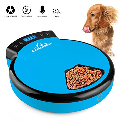 CanineStar Automatic Pet Feeder Pet Dish with Intelligent Real Voice Recorder Timer Dry & Wet Food Dispenser with LCD Display and 240ML 5 Capacity for Cats, Dogs, and House Animals (Blue)