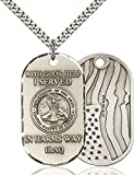 Sterling Silver I Served Iraq Armed Forces Military Dogtag Pendant, 1 1/2 Inch