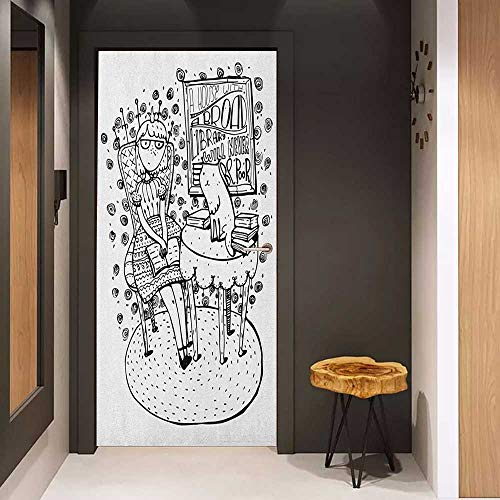 (Onefzc Soliciting Sticker for Door Book Cartoon Style Hand Drawn Girl Sitting with a Book and Cat Glasses Crown Happy Cat Mural Wallpaper W38.5 x H77 Black White)