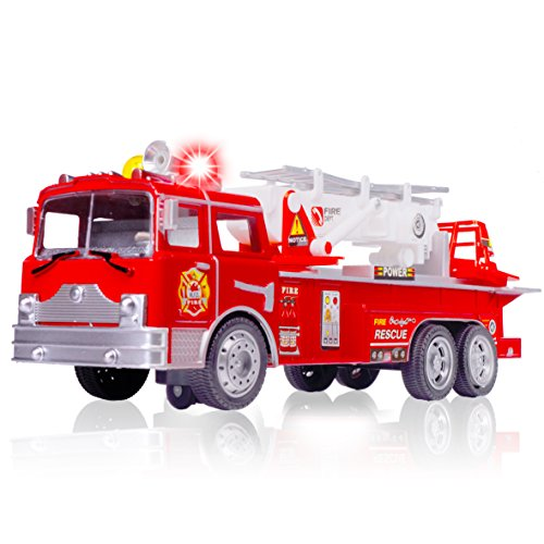Amazing Fire Engine Truck Kids Toy: Bump & Go Rescue Car - Fire Truck Toys With Realistic Siren Sounds & Extending Ladder-Unique Gift Toys For 3 Year Old Boys & Girls Fire Engine Truck