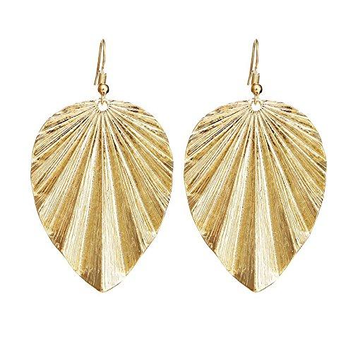Leaf Design Earrings - NOVMAY Womens Fashion Leaf Design Earrings for Women Girls Drop Earrings Dangle Earrings (Golden)