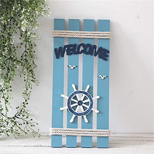 (Hanging Wall Decoration Mediterranean Nautical Style Welcome Sign, Decorative Wall Hanging Mural, Creative Ship Steering Wheel Rudder Resin Wall Hanging Ornament Home Decoration Easy To Install Handic)