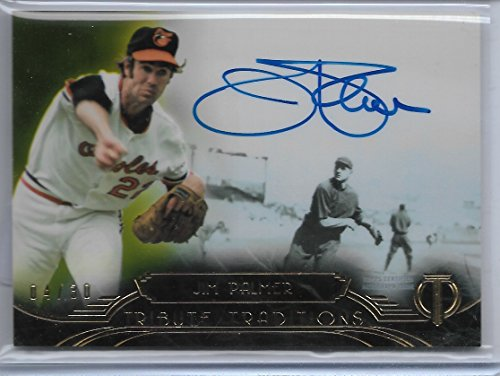 (2014 Topps Tribute Baseball Jim Palmer Yellow Parallel Autograph Card # 4/30)