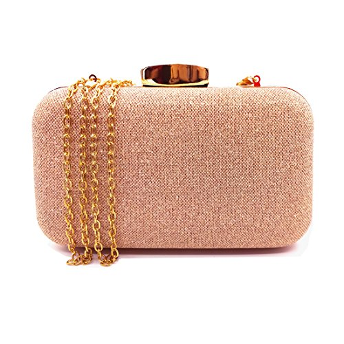 CORVYUC Glitter Evening Clutches Bags Prom Box Clutch Purses Bridal Purse for Women Wedding and Party (Rose ()