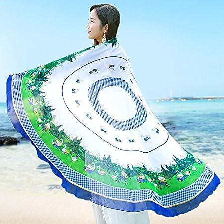 SAIBANGZI Mujeres Nieve Hilado Toalla Ronda Nieve Spinning Toalla Mujer Primavera y Otoño Protector Solar Mantón Nacional Viento Dama Playa Bufanda.