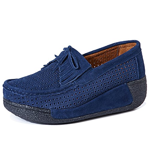 HKR Women Slip On Platform Loafers Suede Tassel Moccasins Wide Width Comfort Working Shoes Dark Blue-hollow Out