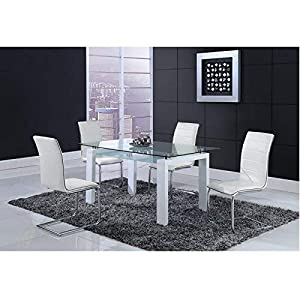 Global Furniture Dining Table, White & Black