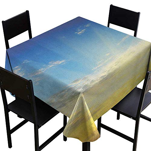 (OUTDRART Tablecloth Stain Resistant Sky,Sun Rays Above The Horizon Sunset Clouds Seasonal Scenic Beauty of The World Picture, Blue Yellow,W54 x L54 Table Flag Home)