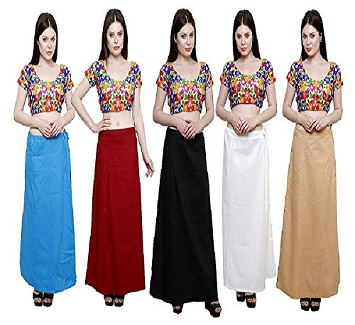 RTI GROUP Women's Cotton Petticoat ( Pack of 5 )