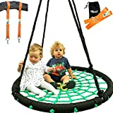 "Trailblaze Tree Swing + Hanging Strap Kit | XL 40"" Round Outdoor Swing for Kids Extra Thick Rope 