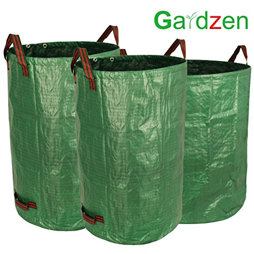 Gardzen 3-Pack Garden bag 32&40&72 Gallons - Reuseable Heavy Duty Gardening Bags, Lawn Pool Garden Leaf Waste Bag (32x40x72 Gallons)