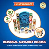 Alphabet Blocks Toys For Toddlers - Jumbo Bilingual Educational Toys For 2 Year Olds, Stacking Toys & ABC Games For Kids 3 4 5 with 30 Wooden Blocks, Toddler Learning Activities eBook, Travel Backpack