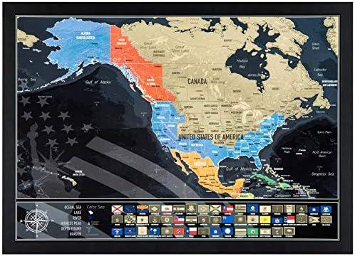 42cm x 29.7cm Rubbelkarte zum Reisen zu verfolgen USA Rubbelkarte mit Staaten Flagen Made in Europe