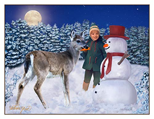 Fine Art Note Card: Snowman, Deer and Boy (Item # 08-016-09)