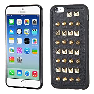 IPhone 6 Candy Skin Cover (Black with Gold Metal Studs on Black Leather Backing)