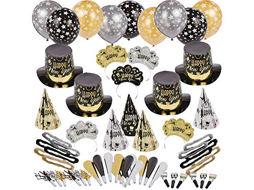 Party City Black Tie Affair New Year's Kit for 100, Includes Cone and Top Hats, Tiaras, Foil Horns, Leis and Balloons