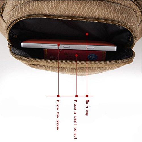 ysber Fashion lienzo Viajes Deportes Cintura Paquetes ajustable bolsa de cintura Correr Bolsa Bolsa de lona Kit pecho paquete bicicleta Mochilas Senderismo Mochilas para los hombres (Lake Blue) marrón