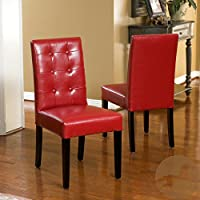 Christopher Knight Home 237696 Roland Leather Dining Chairs (Set of 2), Bright Red